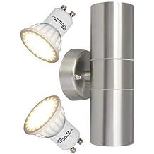 Long Life Lamp - Lámpara led de pared para exteriores (2 luces, GU10, 8 W, acero inoxidable, IP65)