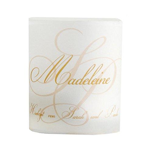 Tischkarte Windlicht Initialen Gold mit Druck: Platzkärtchen, Tischkärtchen, Tischdeko für Hochzeit, Geburtstag, Taufe, Kommunion