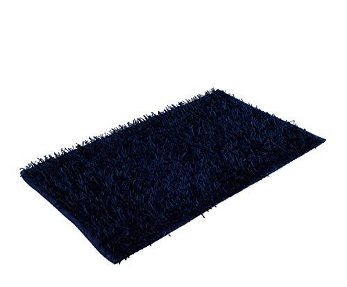 Goezze shaggy - tappeto a pelo lungo a effetto metallizzato tinta unita 50 x 70cm blu scuro