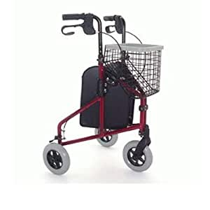 Z-TEC Deluxe Lightweight Aluminium Tri-Walker in Metallic Red