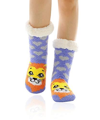 WOTENCE Mujer gruesos cachemira lana calcetines de piso, casa abrigados calcetines, antideslizantes cómodos cálidos lindos animales calcetines borrosos regalo de Navidad zapatillas calcetines (León)