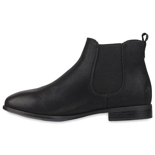 Damen Boots Schuhe Gr 36 Schwarz Stiefeletten Lederoptik Klassische 42 Chelsea 7wdxX
