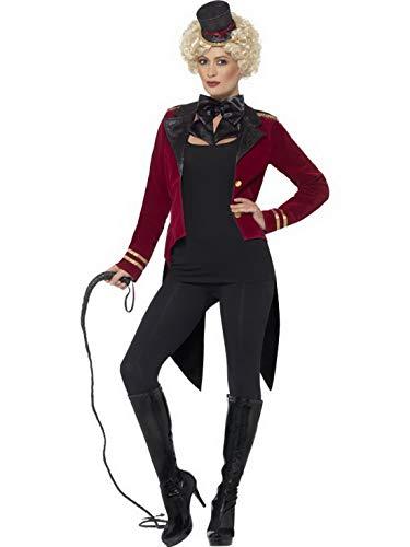Halloweenia - Damen Frauen Zirkus Direktorin Dompteurin Kostüm mit Frack Jacke, Kragen und Hut, perfekt für Karneval, Fasching und Fastnacht, S, Rot