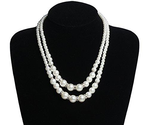 InnoBase Modische Faux Perlen Kette Halskette Perlen Collier 1920er Gatsby Kostüm Accessoires Perlenkette Abend Charleston Party für Damen(Z04) (Passende Kostüme Für Freund Und Freundin)