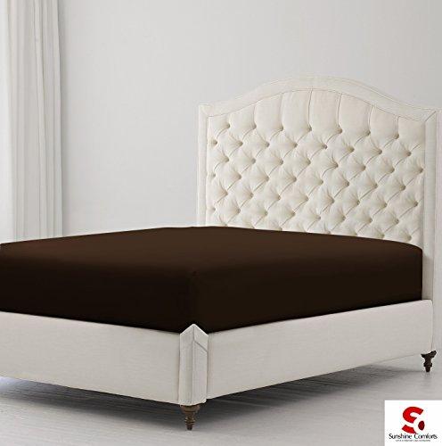 Sunshine Comfort® Perkal Baumwolle Rich 180Fadenzahl bügelfreier Deep Spannbettlaken Bettwäsche, Baumwollmischung, Chocolate Brown, King Size
