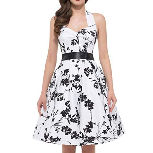 LANSKIRT Damen 1950er Vintage Abendkleid Elegant Neckholder Retro Cocktailkleid Faltenrock Kleid...