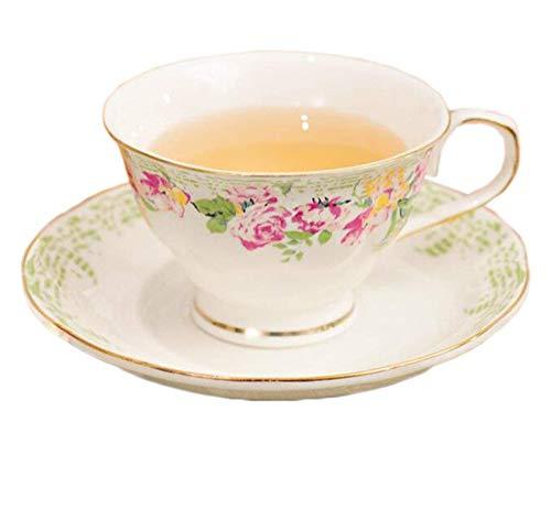 Après-Midi Tasse Et Assiette Européenne Porcelaine D'os Fleur Peinte,Fleur Rose
