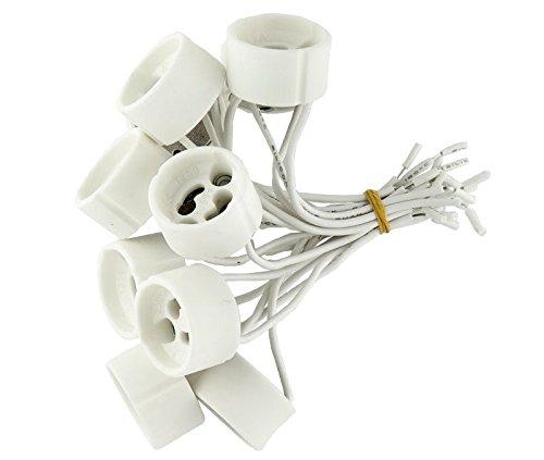 10 20 50 100 Set inoltri GU10 230 V alogena LED attacco portalampada in ceramica con cavo, GU10, 100.0 wattsW