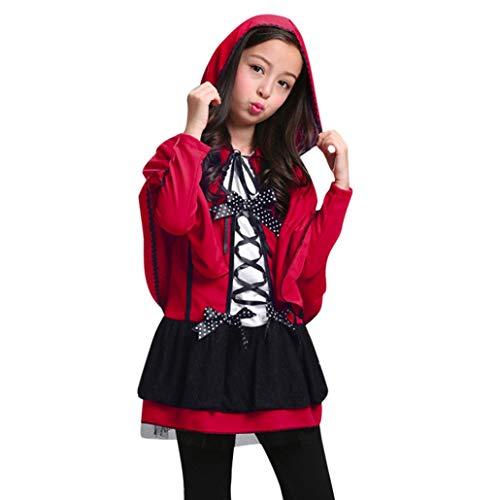 OdeJoy Kind Mädchen Halloween Modellieren Performance Kostüme + mit Kapuze Mantel Zwei Stück Party Kleider Outfits Solid Langeärmel Kleid + Hooded Cloak Outfits Kleidung (Rot,110)