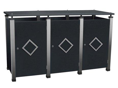 Mülltonnenbox Metall, Modell Pacco E Quad18.1 für drei 120 ltr. Tonnen