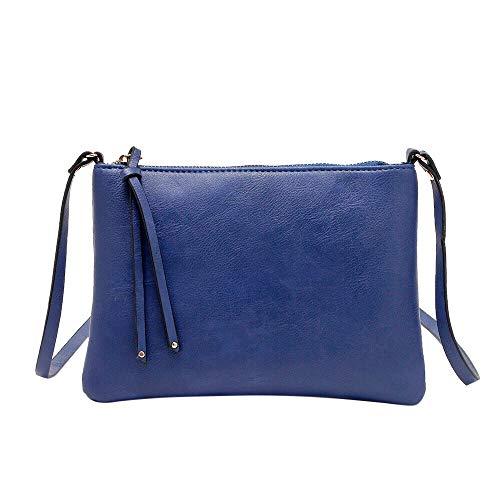Fell Satchel Handtasche (YWLINK Damen Faux Leder Retro Handtasche Satchel ReißVerschluss UmhäNgetasche Kuriertasche(Blau))