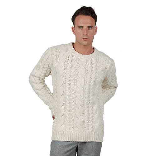 Brunella gori maglione pullover girocollo con motivo a treccie 90% merino 10% cashmere bianco l