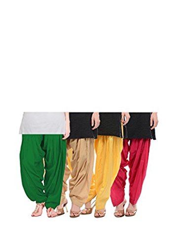 Bully Women\'s Cotton Patiala Salwar Bottoms (Combo Of 4) (Free Size)