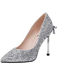 SANDALIAS Zapatos De Plata Atractivos De La Boda Zapatos De Cristal  Elegantes De La Mujer Moda Puntiaguda Tacones Altos Zapatos De… be8349241d90