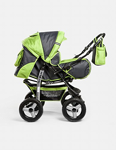 Kombi Kinderwagen Travel System Kamel 2in1 grau-grün Kinderwagen Buggy Stroller Poussette
