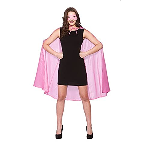 New Baby Pink Superhero Cape & Mask - Adult Accessory Adult - One Size