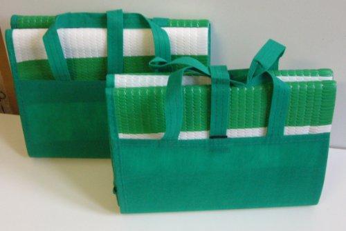 2er Set Maritime Strandmatte faltbar mit aufblasbarem Kissen, als Tasche zusammenfaltbar, Farbe Grün Weiß