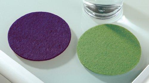 Filz Untersetzer rund, 8er Set, 4 x gras grün 4 x lila, Filzuntersetzer waschbar Gilde
