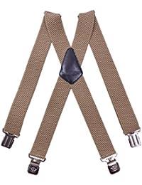 Paolo Udini Hosenträger für Herren 4 cm breit mit 4 Clips X-Form