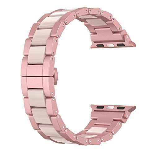 Wearlizer für Apple Watch Armband 42mm 44mm, Aluminium Metall Harz iWatch Straps Ersatzband Uhrenarmband Wristband für iWatch Serie 4 Serie 3 Serie 2 - Rose Gold -