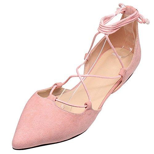 Jamron Mujer Suave Gamuza Sintetica Plana Puntiaguda Pumps Lujosa Cruzado con Cordones Zapatos de Bailarinas...