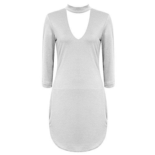 Janisramone - Robe - Robe tunique - Manches Longues - Femme * taille unique Blanc