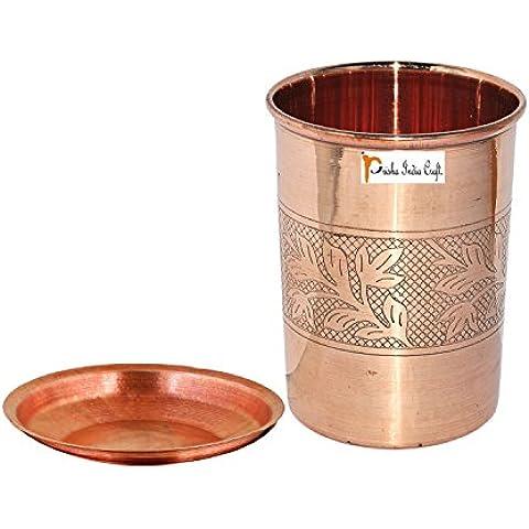 Prisha India Craft ® cilindretto di rame con coperchio volume 300 ml / 8.4535 OZ I viaggiatori tazza di rame I VETRO DI RAME , Drinkware set di vetreria - Regalo di natale - Bicchiere Viaggiatore