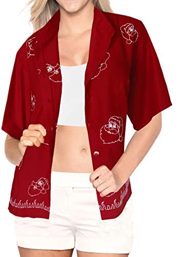 LA LEELA Aloha Party Hawaii Bluse Top-Frauen Shirt Christmas Santa Claus Jingle Bells X-Mas Tree Weihnachten Rot_X472 S - DE Größe :- 36-42