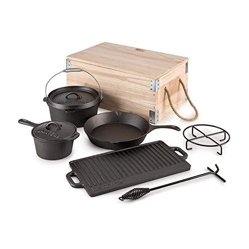 KLARSTEIN Hotrod Masterplan – Dutch Oven Set, BBQ-Topf, Komplett Set, 7-teilig, zum Kochen, Braten & Backen, Stiltopf, Gusseisentopf, Pfanne, gerippte Bratplatte, Topfständer, schwarz