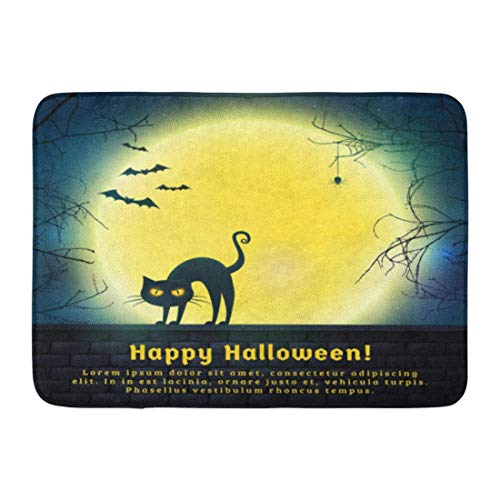 LIS HOME Badematte Happy Halloween mit Vollmond und Evil Cat Spooky Night mit Textfreiraum für Grüße Promo Text Bathroom Decor Rug