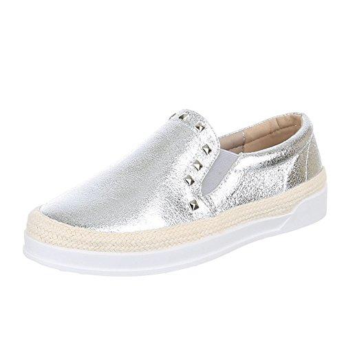 Damen MIT Y NIETEN Schuhe 1311 SLIPPER HALBSCHUHE Silber Sw1BqSr