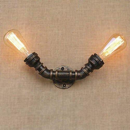 W-LI Lampe Leuchte Rohr Beleuchtung Industrie Lampe Retro mit 2 Sockel Vintage Wandleuchte Kreative Eisen Wandleuchte E27 Leuchte Indoor Dekorativ für Bedside Hotel Loft Balkon Flur -