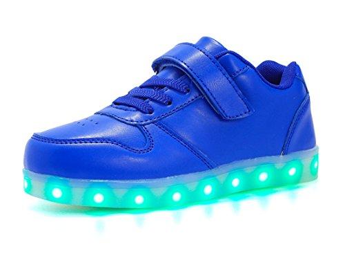 Honeystore Unisex LED Leuchtet Schuhe Sneakers mit USB Einem Geschenk der Kinder Jungen Mädchen Halloween Weihnachten Neujahr Blau 30 CN