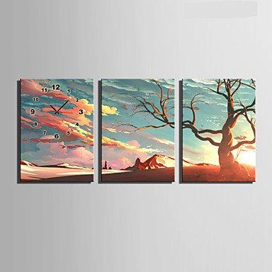 Y & M moderne/contemporain autres Horloge murale, rectangulaire tela35 x 50 cm (14inchx20inch) x3pcs/40 x 60 cm (16inchx24inch) x3pcs/50 x 20\