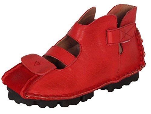 Vogstyle Femme cuir faits à la main des chaussures plates à brides velcro Rouge style-1