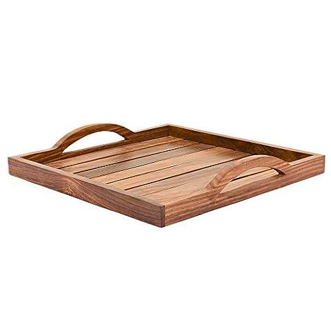 Plateau de service en bois, bois de Sheesham en palissandre indien Fait à la main Plateau pour servir/salle à manger, Bois dense, style 3, 12x12 inch