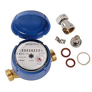 Sanitop-Wingenroth 140706Water Meter for Outlets with 2Male Threads, Nickel Plated, 3/4Inch