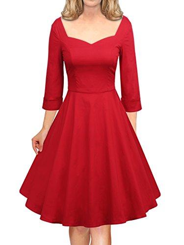 LUOUSE Femme Manteau Robe Rétro Vintage Années 50 s Style Audrey Hepburn Classique Coton Plusieurs couleurs E703-Red