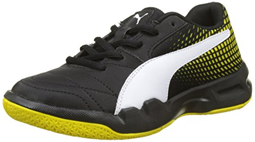 Puma Unisex-Kinder Veloz Indoor NG Jr Multisport Schuhe, Schwarz Black-White-Blazing Yellow, 38 EU