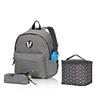 Veevan Water-Resistant School Backpack for Girls Boys with Pencil Case Lunch Box 3pcs Grey