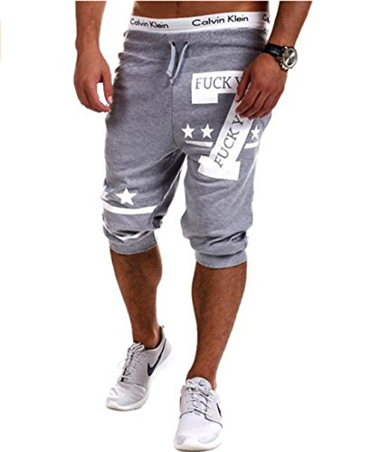 Men's Number 7 Printed Harem Elastic Fitness Casual Shorts Lt Grey