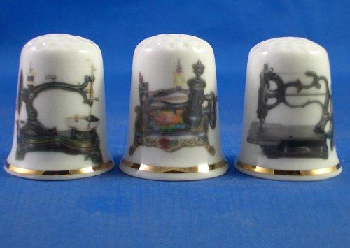 Colección de dedales de porcelana china, con diseño de máquinas de
