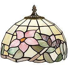 Lámpara Tiffany Ámbar con flores rosa 102cristales originales Tiffany transforman a mano–Tamaños diámetro 25cm–Farol esférico de Perenz t618u