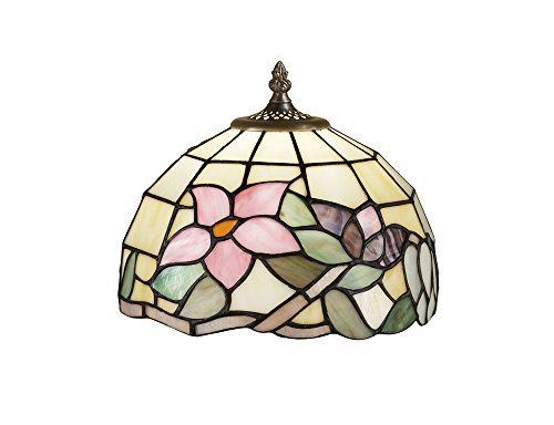 Lampenschirm Tiffany Bernstein mit Blumen pink 102Original Glas Tiffany Handarbeit-Maßnahmen Ø 25cm-Schirm Typ Perenz t618u