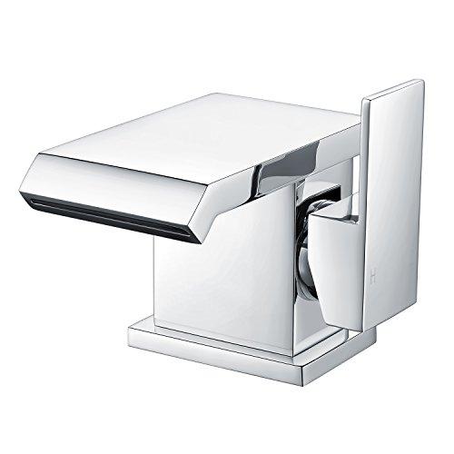 Uuhome rubinetto miscelatore monocomando, cascata elegante, per lavabo bagno bidet lavandino, di ottone cromato t12s