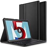 ELTD Clavier Étui pour Huawei MediaPad M5 /M5 Pro 10.8 Pouces,[AZERTY], Détachable Wireless Clavier Keyboard Stand PU Case Housse pour MediaPad M5 10.8 Tablet 2018, Noir