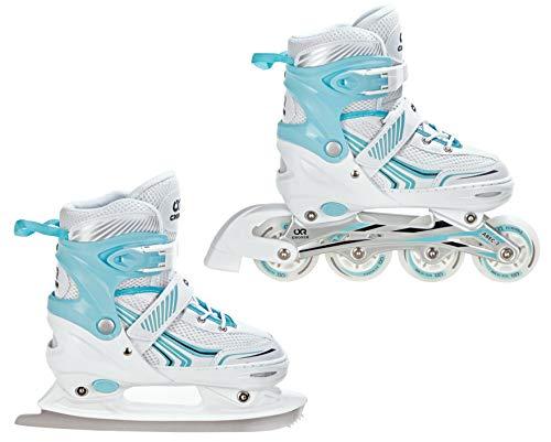 Croxer 2in1 Schlittschuhe Inline Skates Inliner Optima White/Mint Verstellbar (39-42(24cm-26,5cm))