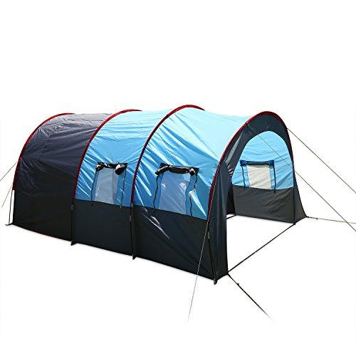 Scallop Tunnelzelt Campingzelt Wasserdicht Familienzelt mit 2 Schlafkabinen, Camping Zelte für 5-8 Personen,mit 3000 mm Wassersäule, 480 x 310 x 210cm, Preis-Leistungssieger im Vergleich