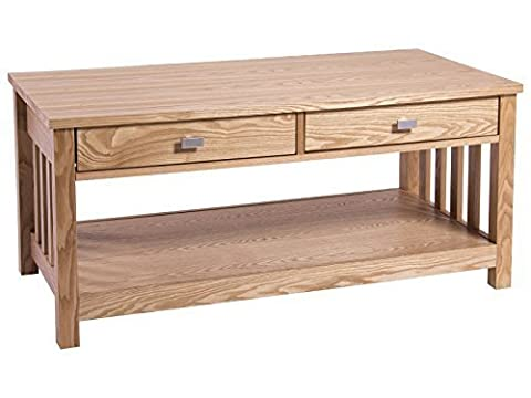 Royal Oak 2 Drawer Coffee Table - Mission Style, Real Ash Veneer
