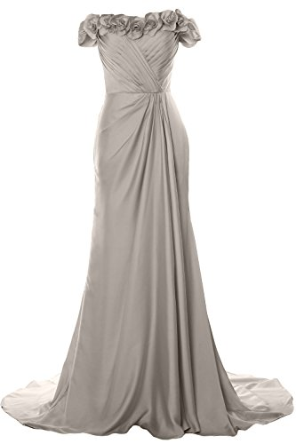 MACloth Women Off Shoulder with Flowers Long Prom Dress 2018 Evening Formal Gown Silber